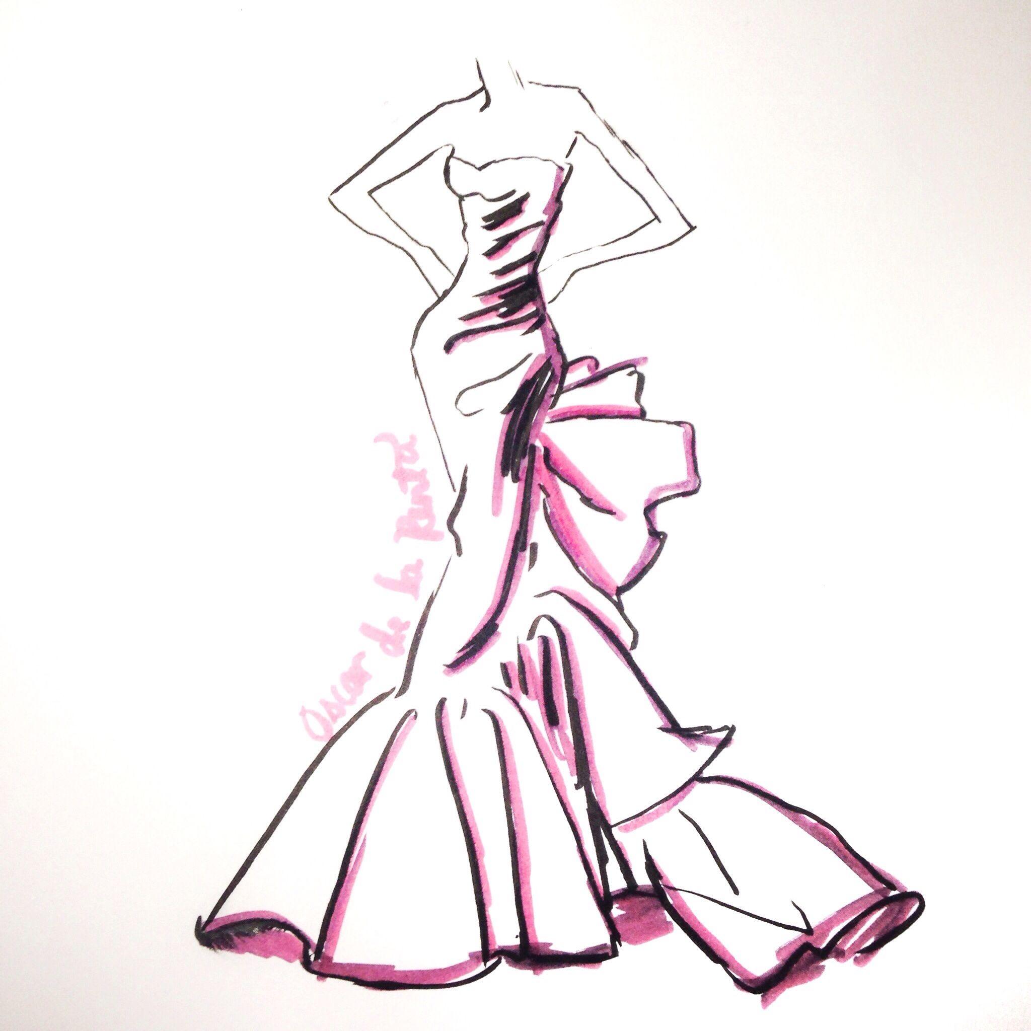 Brush Pen Fashion Illustration In Honor Of Oscar De La Renta Copied His Sketch Fashionillustration Doodl Pen Fashion Fashion Sketches Fashion Illustration