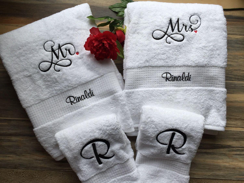 Embroidered Mr & Mrs Towel Set, Bride Gift, Groom Gift