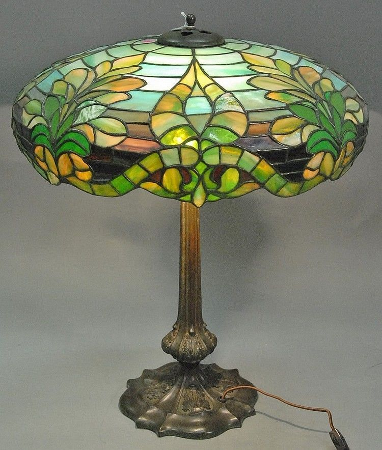 Duffner Kimberly Leaded Table Lamp Having Rare Owl And Large Plumes Of Feat Lamp Antique Lamps Table Lamp