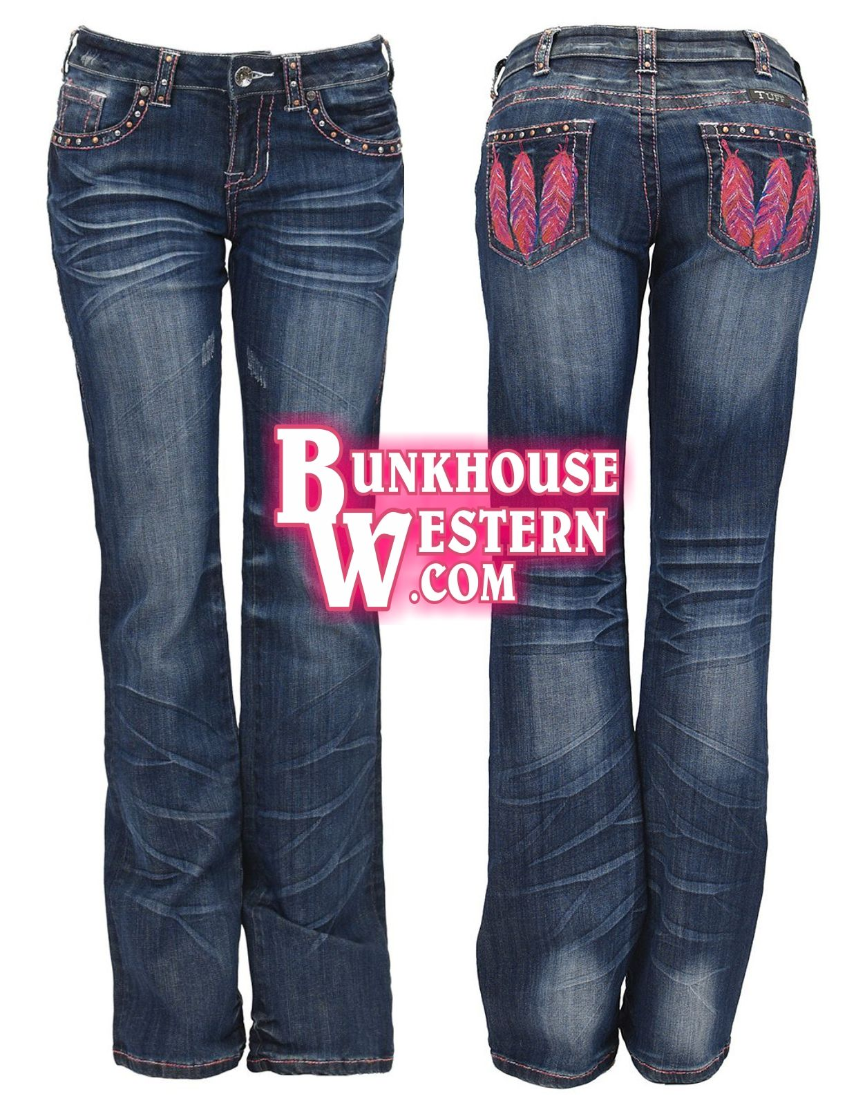 d26071e25cf Cowgirl Tuff Company, Fly Free Pink Jeans, Pink Feather Stitching, & Studs,  $99.99 & FREE United States shipping