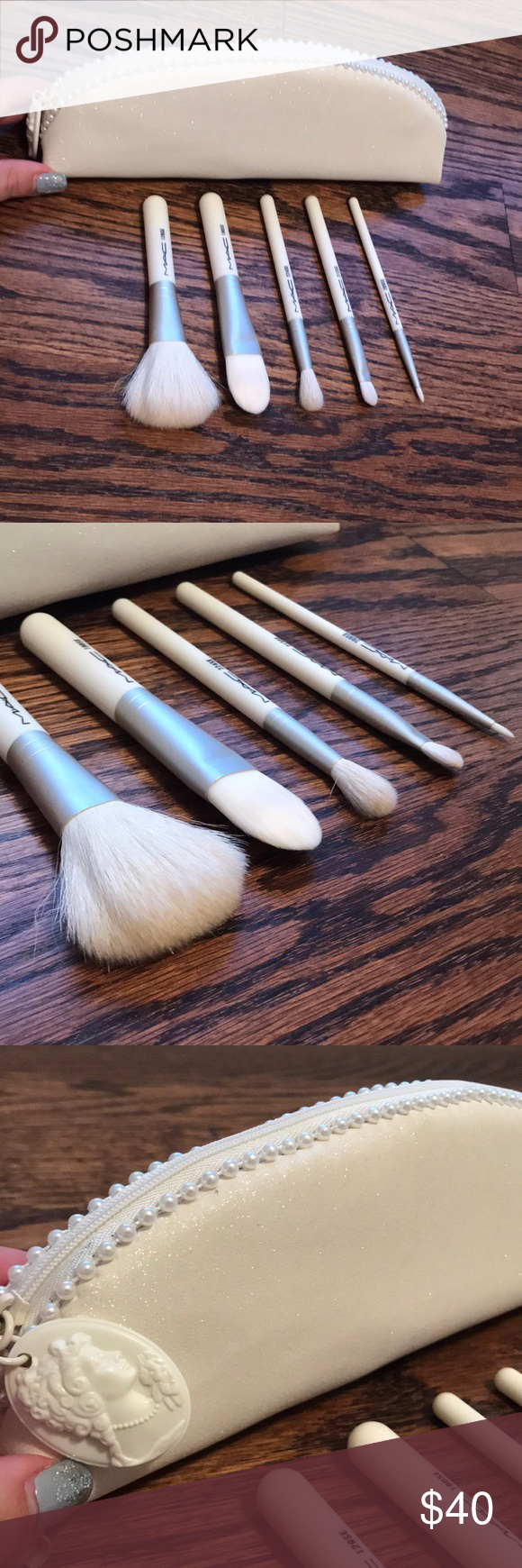 MAC makeup brush set 6 piece MAC white makeup brush set. 5