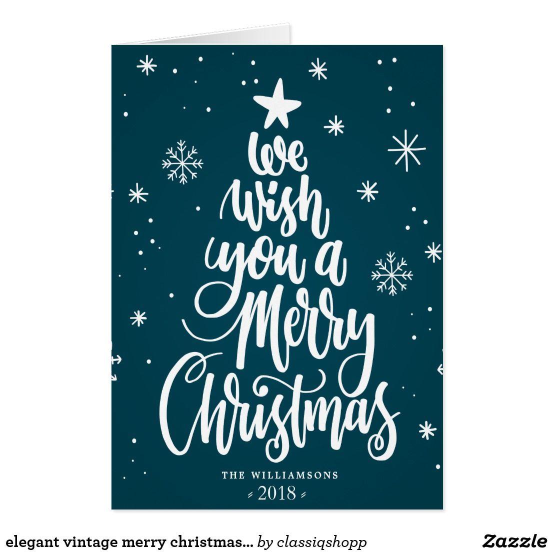 Elegant Vintage Merry Christmas Card Custom Text Design Image Credit Freepik