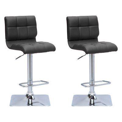 CorLiving Mid-Back Adjustable Barstool - Set of 2 Black - DPU-903-B, Durable