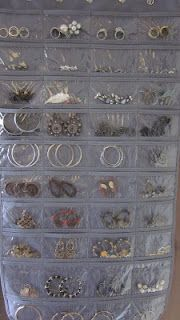 Use a Hanging Jewelry Organizer in your closet from Bed Bath