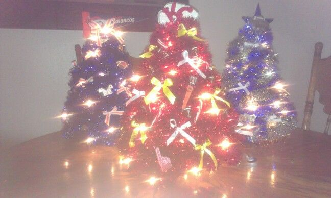 AFC West Christmas trees made out of coat hangers in a little bit of