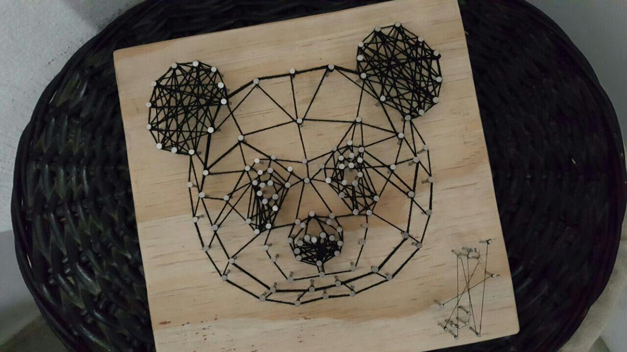 geometric panda string art ans wood works art fait main peinture. Black Bedroom Furniture Sets. Home Design Ideas