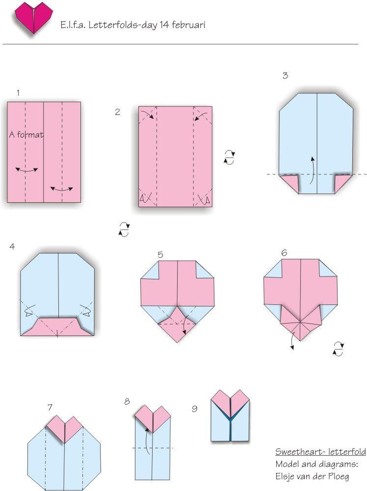 Sweetheart by Elsje van der Ploeg   Origami envelope en letterfold ...