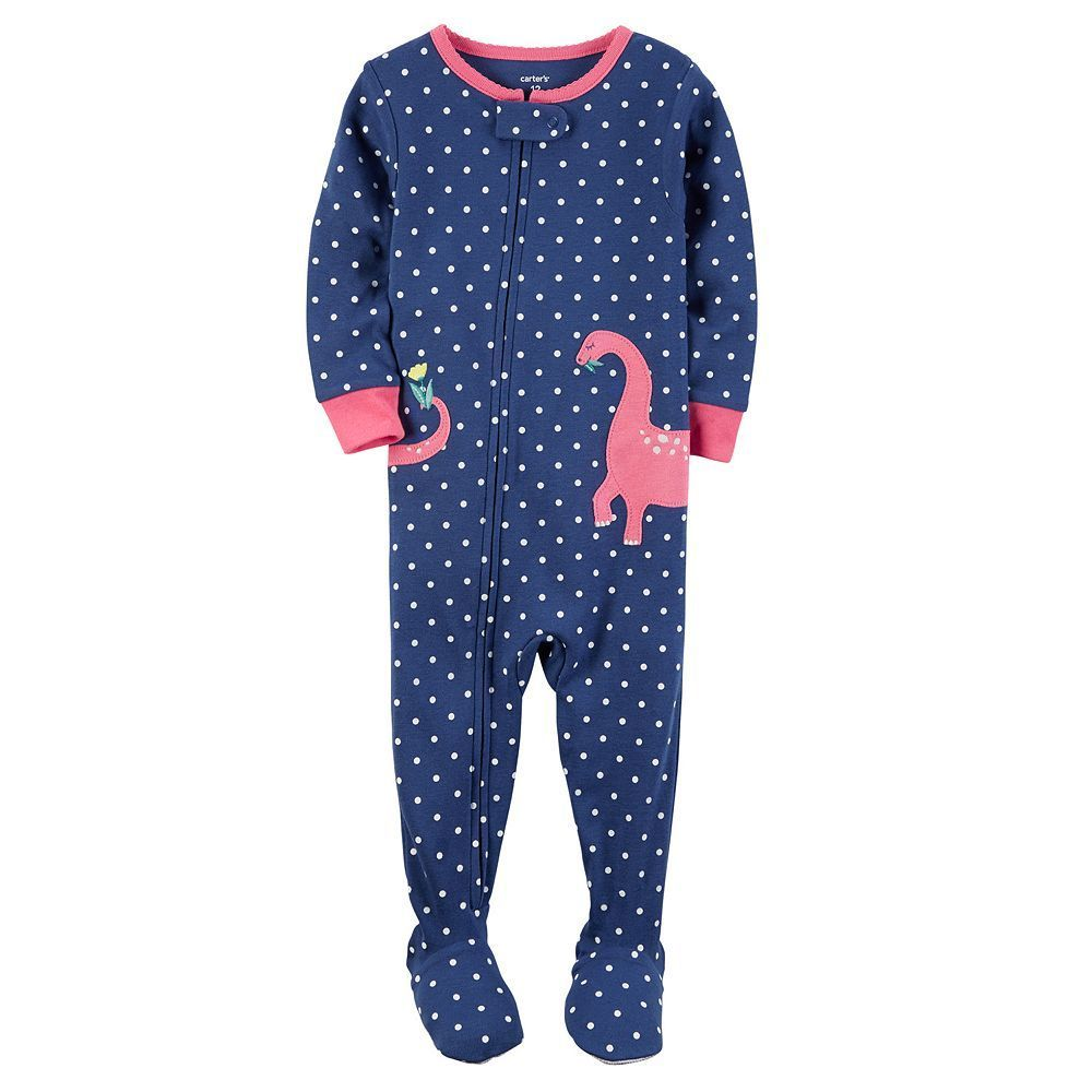 c54006f82 Baby Girl Carter s Polka-Dot Applique Footed Pajamas