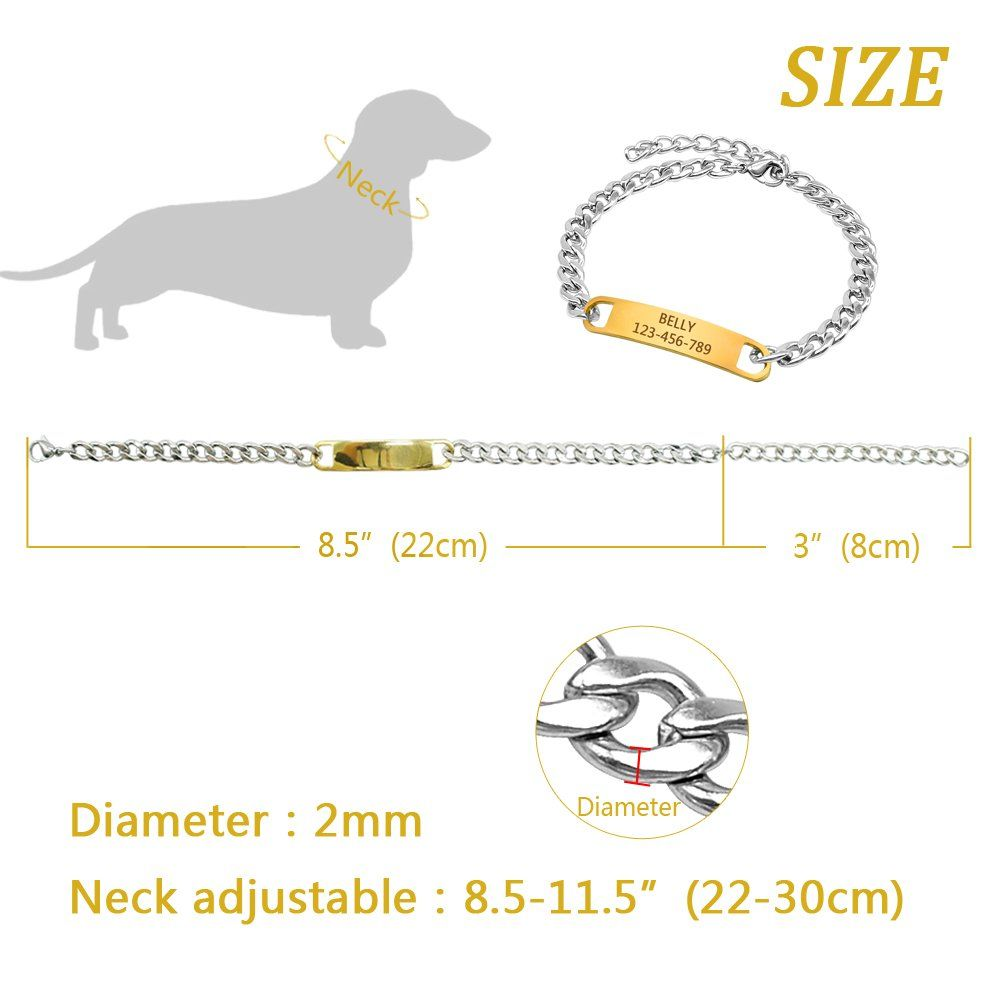 Chain Dog Training Choke Collar Personalized Engrave Stainless