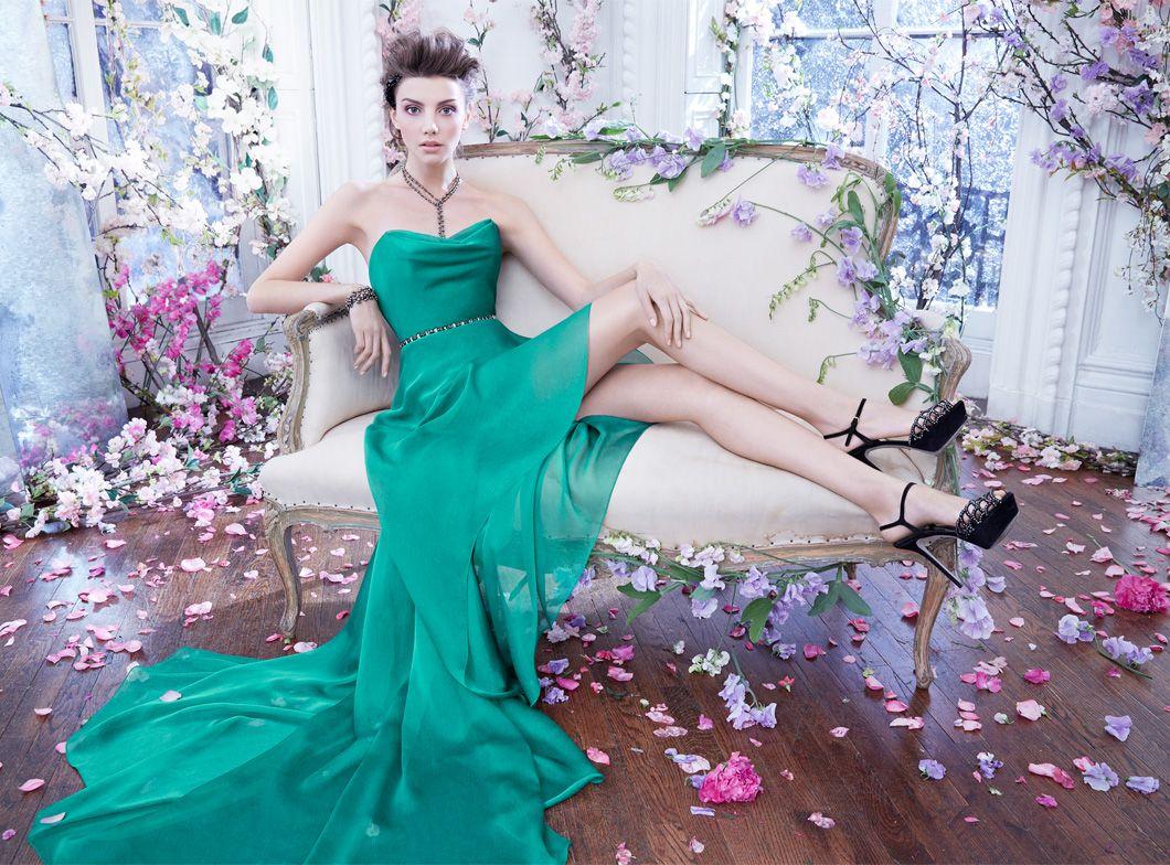 Emerald luminescent chiffon gown, draped cowl neckline, charcoal ...