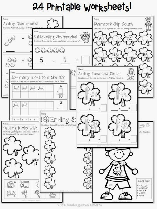 Kindergarten Math Worksheets-St-Patricks-Day-With-A
