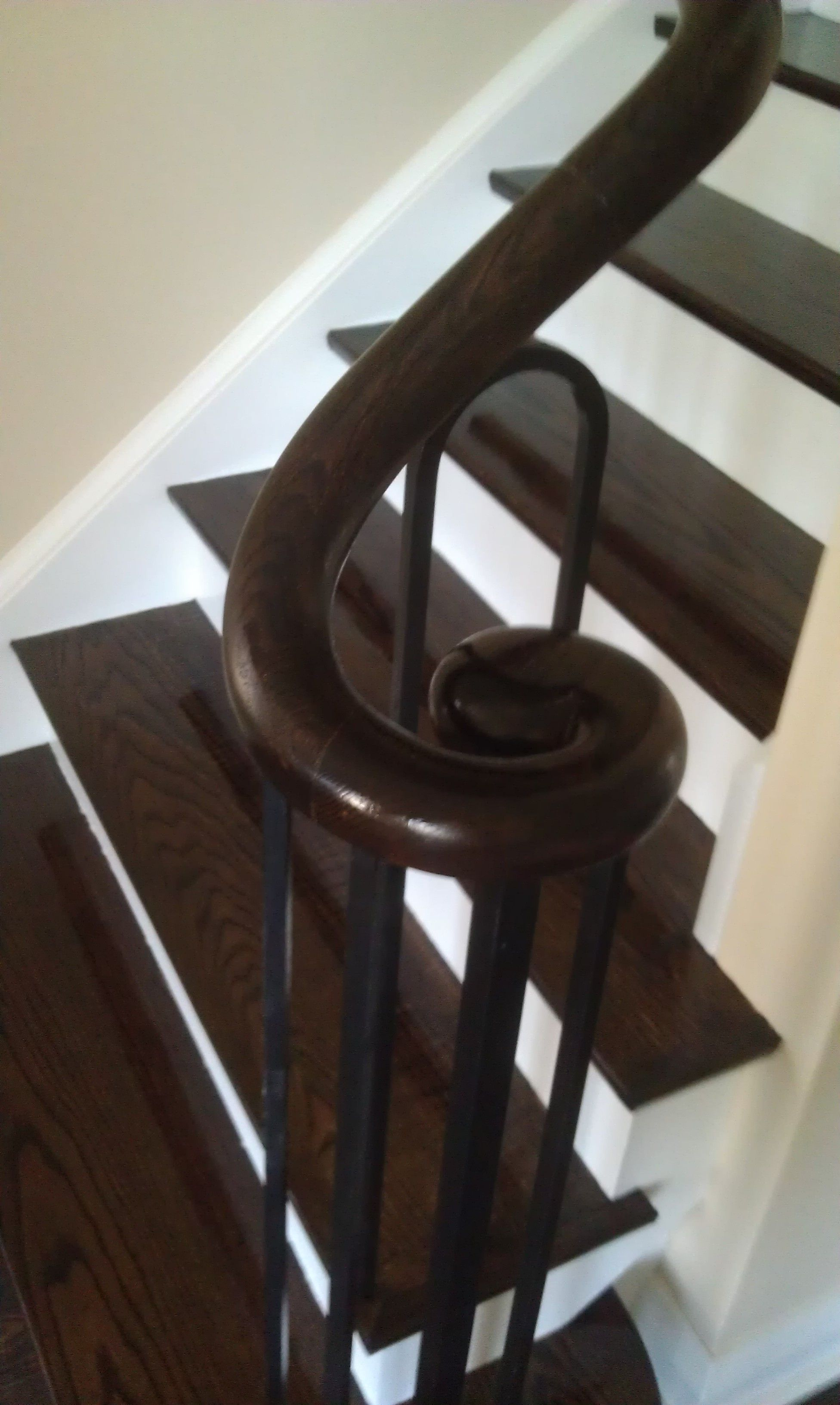 Best Red Oak Stair Treads Handrail Custom Stained Finished 400 x 300