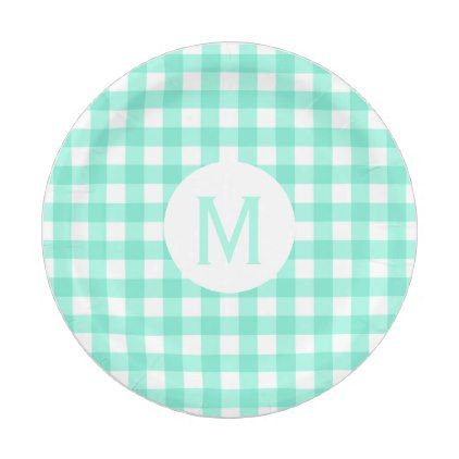Simple Basic Mint Green Gingham Monogram Paper Plate - diy cyo customize create your own personalize  sc 1 st  Pinterest & Simple Basic Mint Green Gingham Monogram Paper Plate - diy cyo ...
