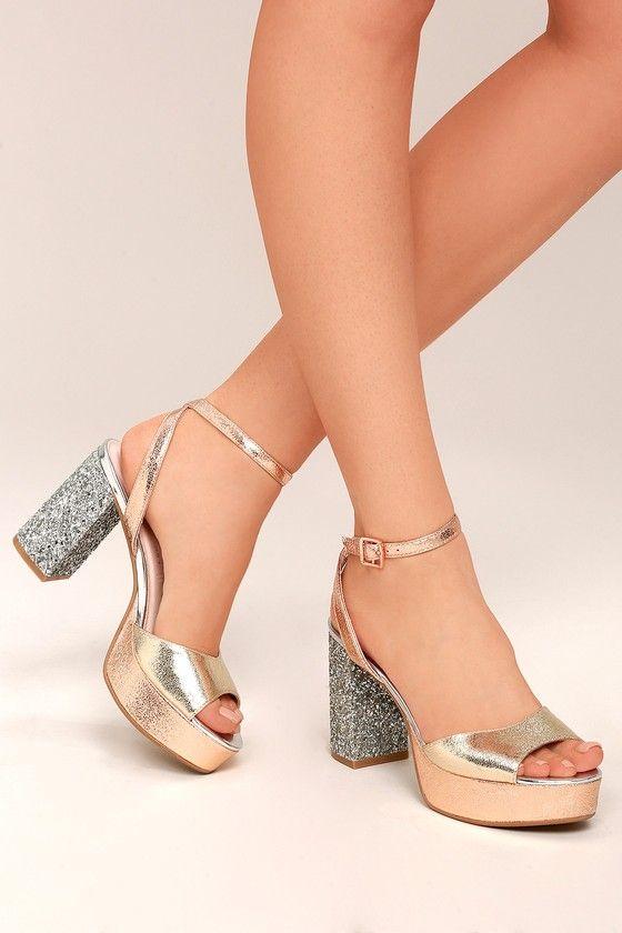 Chinese Laundry Tayla Rose Gold Leather Platform Heels Trending