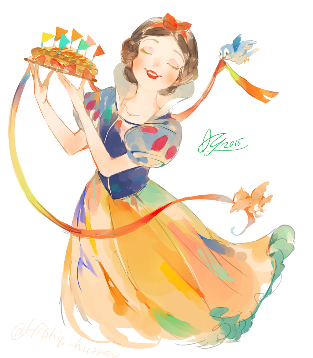 This is a really cool watercolor Snow White fan art. I love it