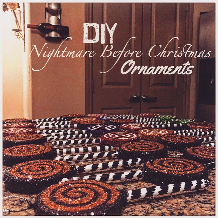 Diy Nightmare Before Christmas Glitter Lollipop Ornaments