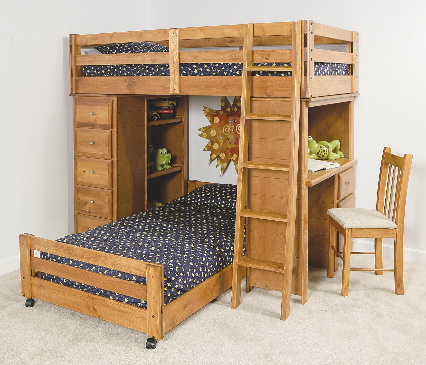 Pine Loft Bed with Desk  Living Room Wall Decor Sets Check more at