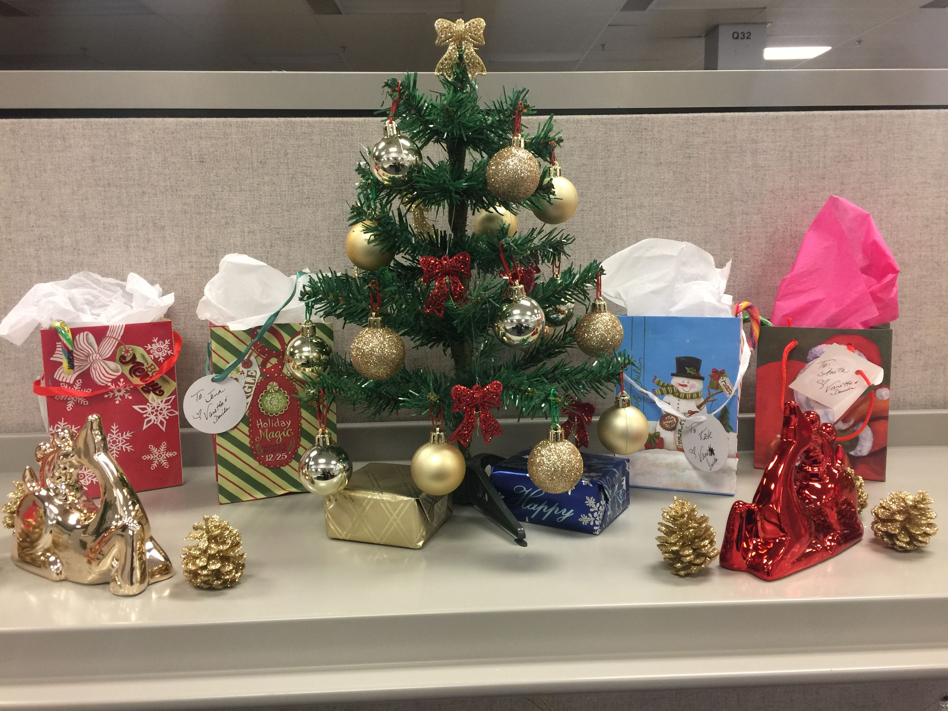 Christmas Decor For A Small Office Space With A Mini Tree, Mini Gifts, Mini