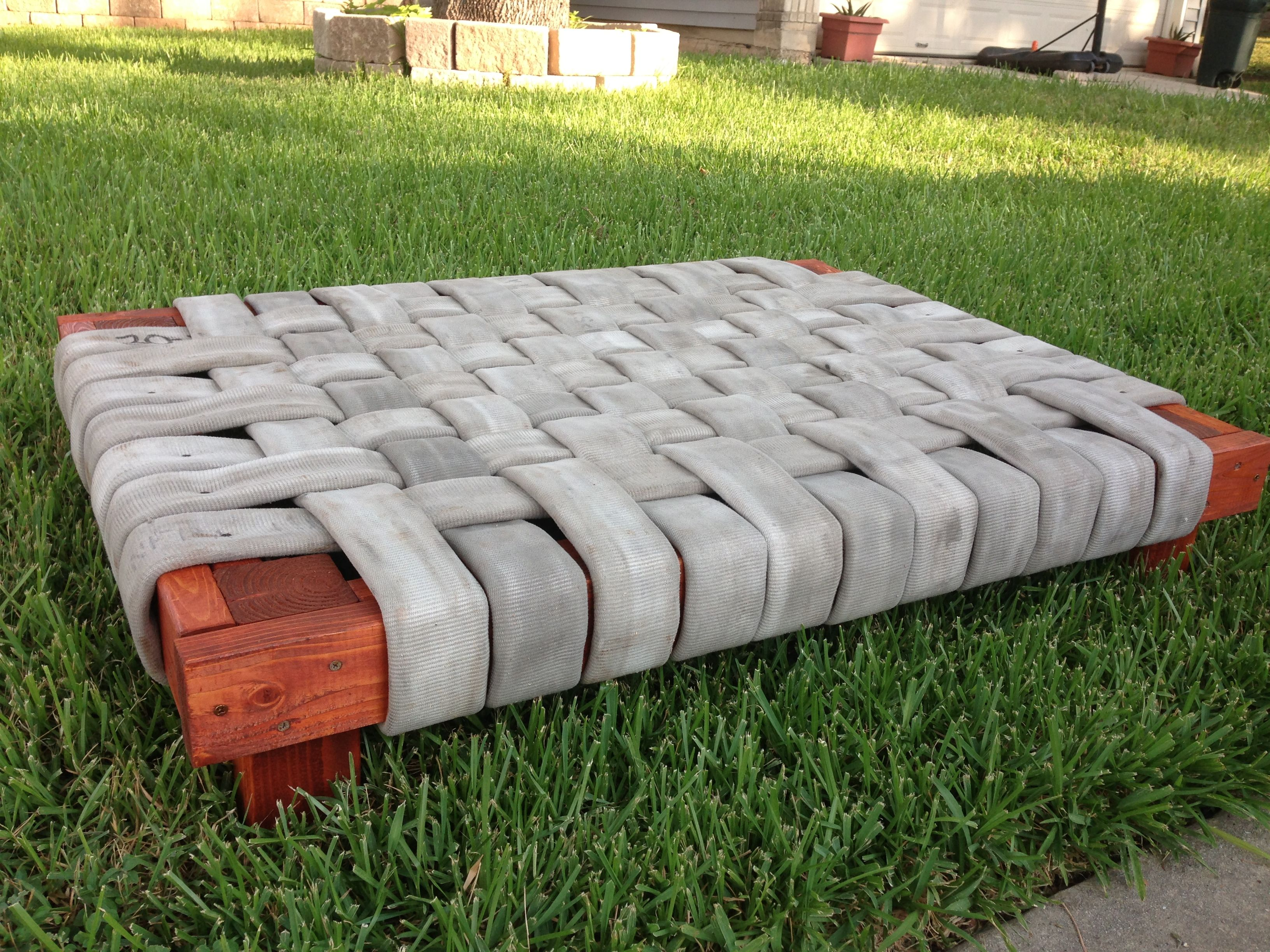 Used fire hose dog bed!!!! Dog bed, Diy dog bed, Diy dog
