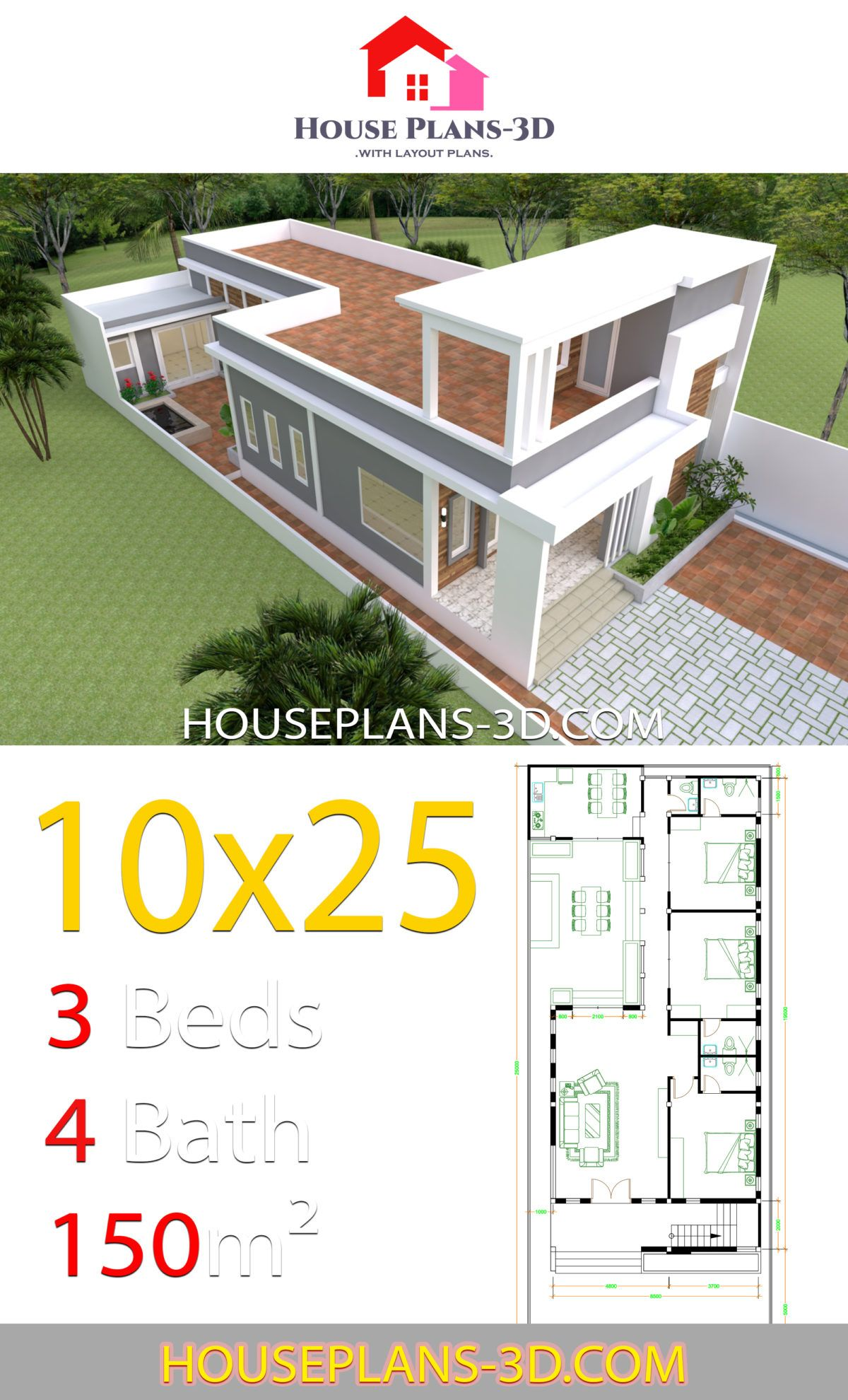 House Design Plans 10x25 With 3 Bedrooms House Plans 3d In 2020 Small Contemporary House Plans Contemporary House Plans Small House Design Plans