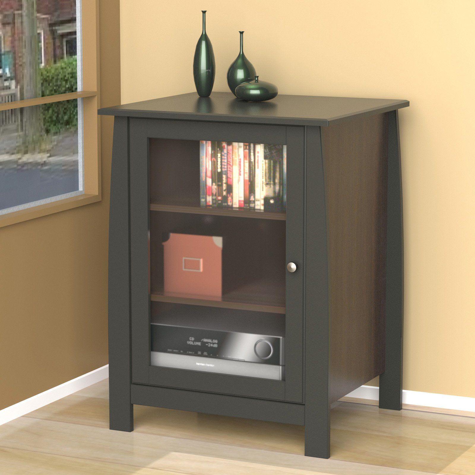 Nexera Pinnacle 1 Door Audio Tower Espresso Audio Cabinet Entertainment Furniture Audio Room