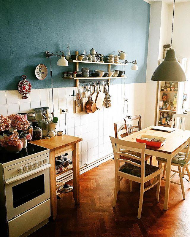 Küchenliebe evening kitchen bluekitchen homedecor kitchenware kitchendesign