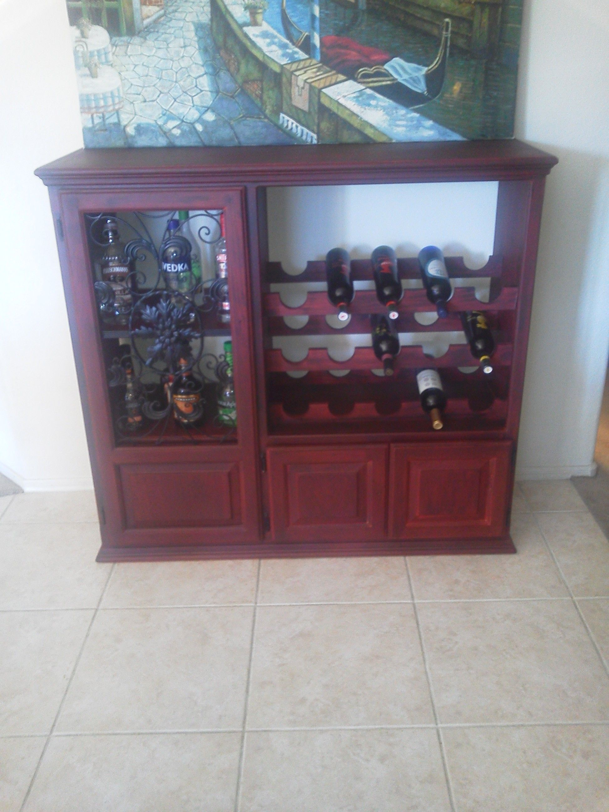 Made A Wine Cabinet Out Of My Old Tv Cabinet