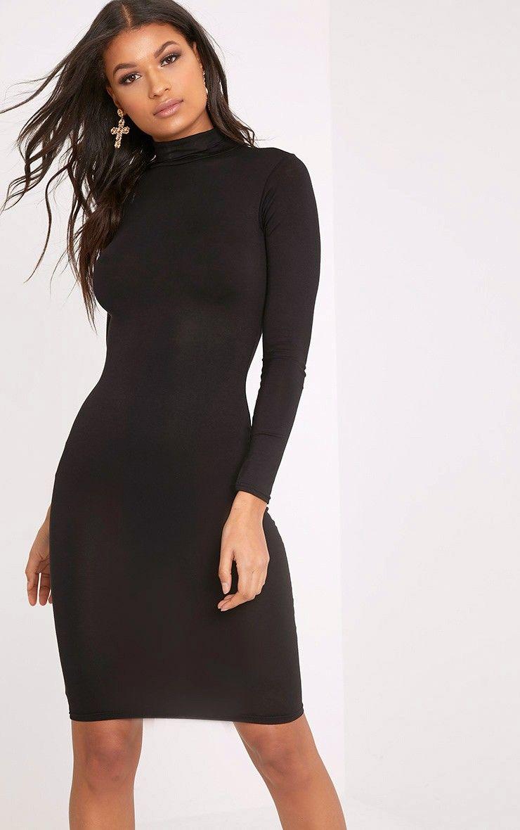 0037a61d8f1 Basic Black Roll Neck Midi Dress Image 1