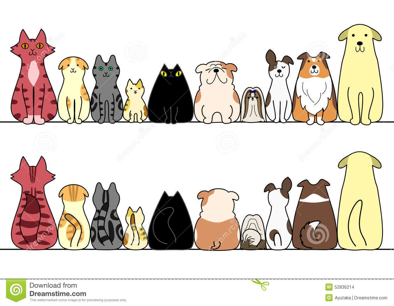 Dogs And Cats In A Row With Copy Space Front And Back Download From Over 57 Million High Quality Stock Photos Images Vecto Dog Template Dog Cat Dog Sitting
