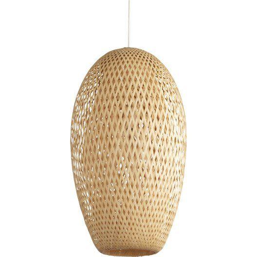 Suspension Nagai Inspire Coloris Naturel 60 Watts Diam 30 Cm Luminaire Mobilier De Salon Bambou