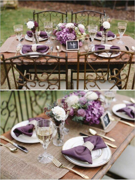 Sweet Heirloom Garden Wedding Inspiration Purple Wedding Tables