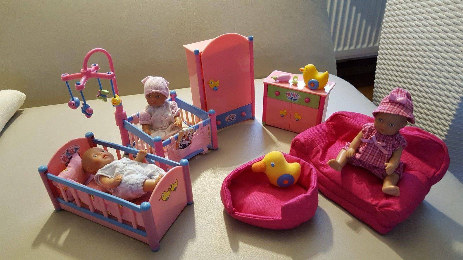 Baby Born Miniworld Kinderzimmer Mit Mobel Und 3 Puppen Unbespielt In Spielzeug Puppen Amp Zubehor Babypuppen Amp Baby Dolls Tiny Dolls Toddler Bed