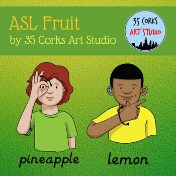 Enclosed Are 24 Different Signs For Various Fruits Apple Avocado Banana Blackberry Blueberry Cantaloupe Cherry Coconut Sign Language Language Cork Art What is being signed (english meaning). enclosed are 24 different signs for