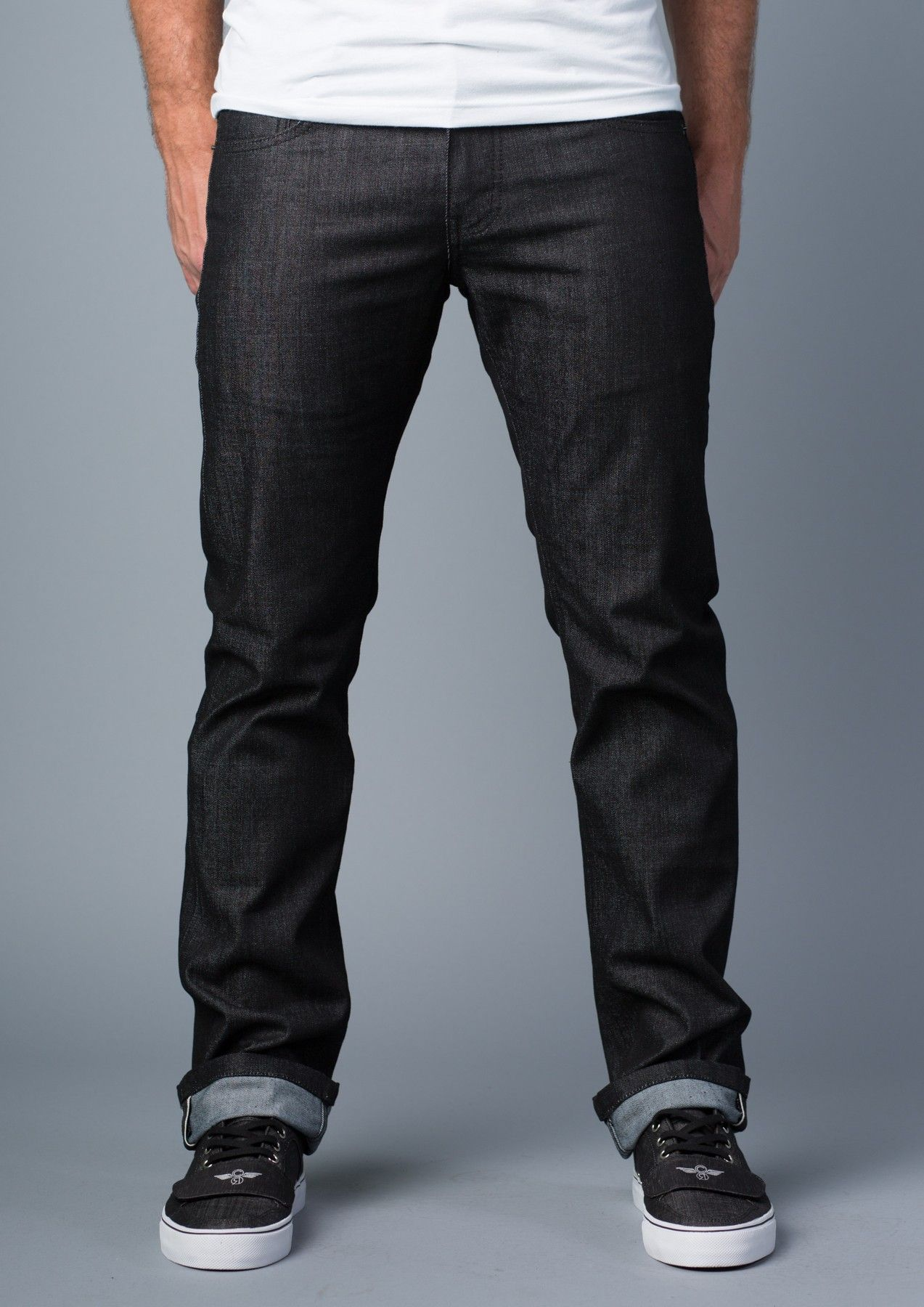 Vantage Point} Disbelief Slim-Straight Jeans in Black Out ...
