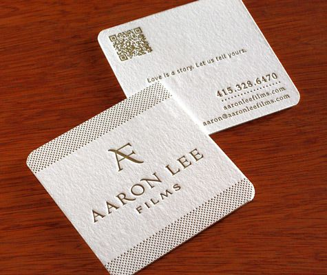 Aarons logo and website motif were letterpress printed on the letterpress business cards for bay area cinematographer aaron lee two sided double thick custom round corners reheart Choice Image