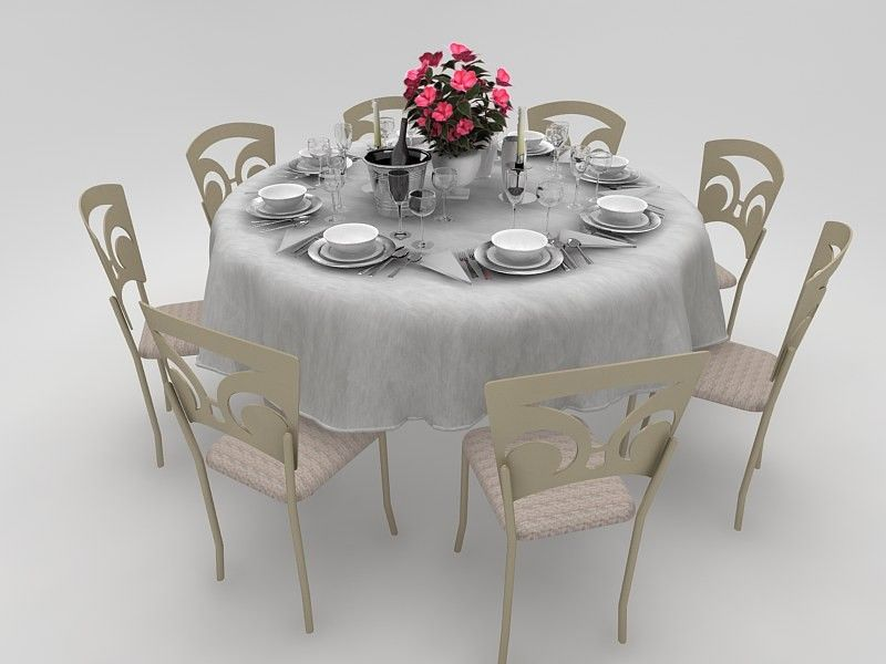 3D Model Dining Set Chairs Table Cloth