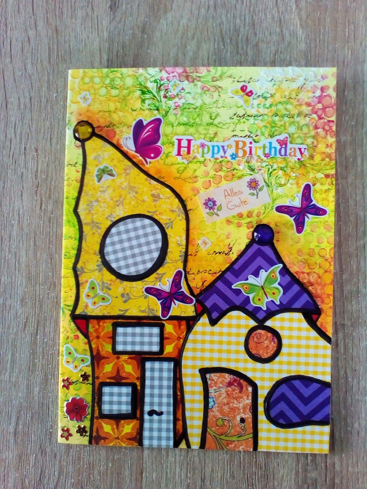 Und noch eine Häuser Geburtstagskarte. Das was auf den Bildern blau ...