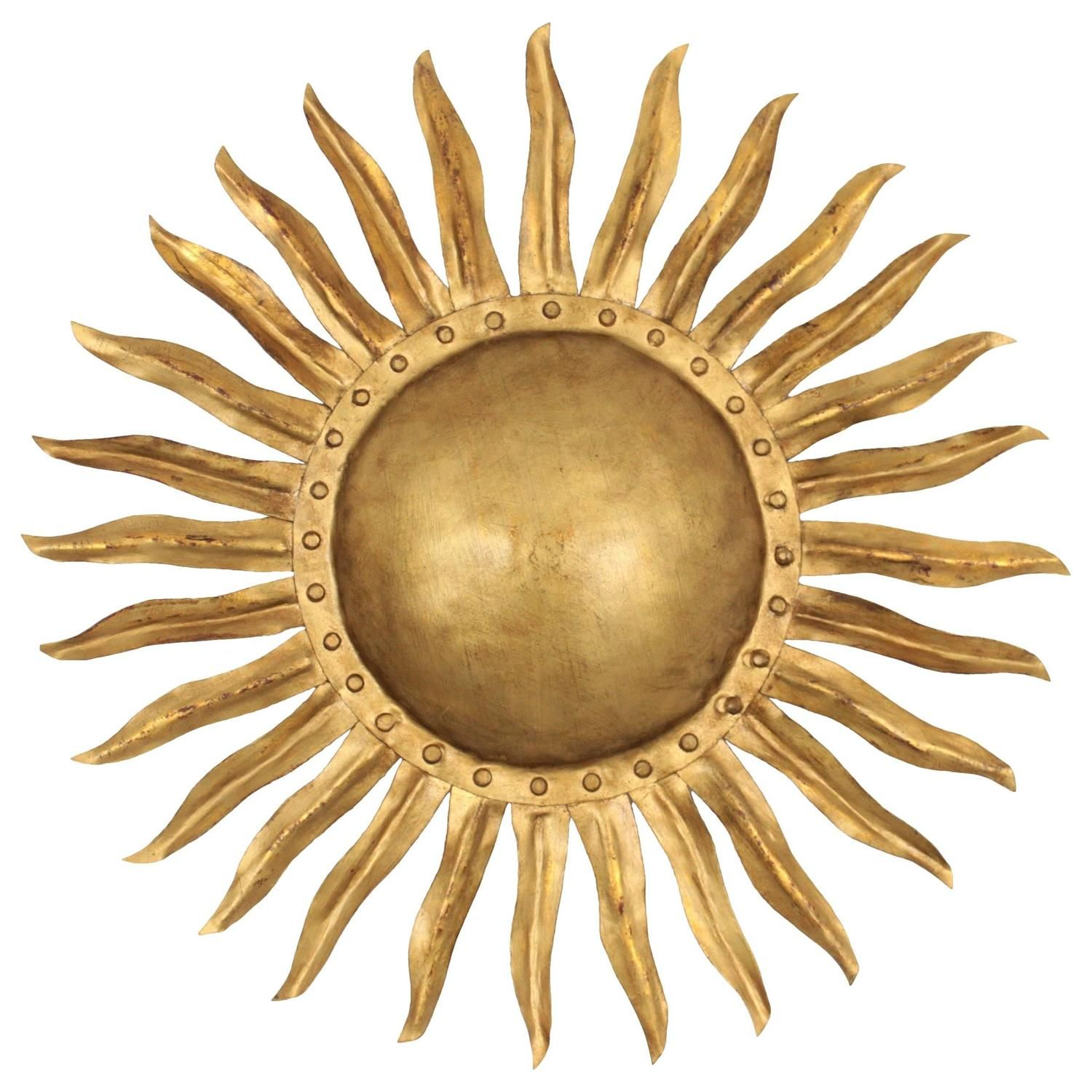 1940s Spanish Gilt Iron Sunburst Wall Sconce or Ceiling Light ...