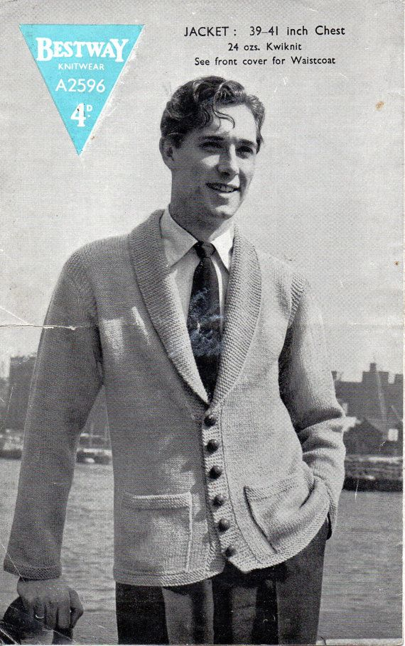 Mens Knitting Pattern 1940s Vintage Mens Cardigan with Shawl Collar ...