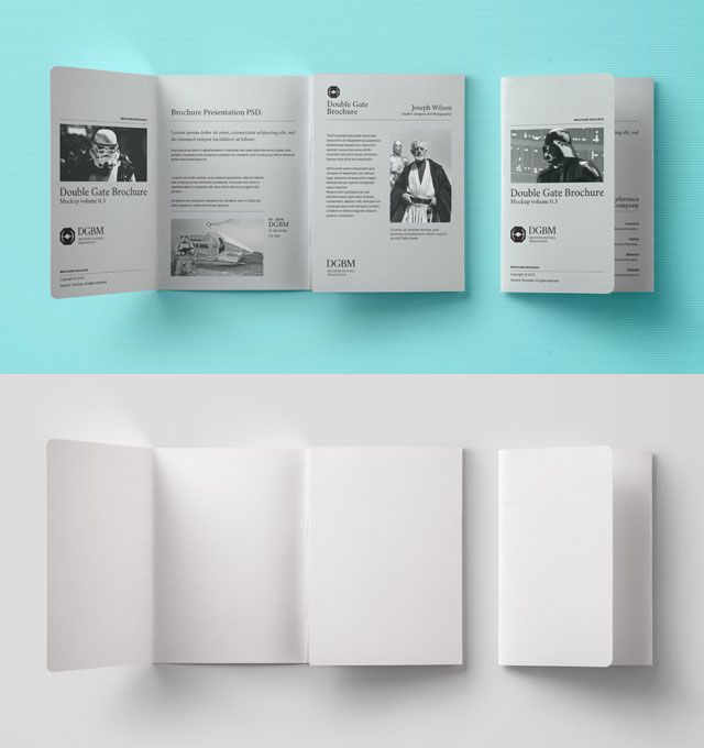 Double Gate Fold Brochure Mockup  Mockups Psd Templates For