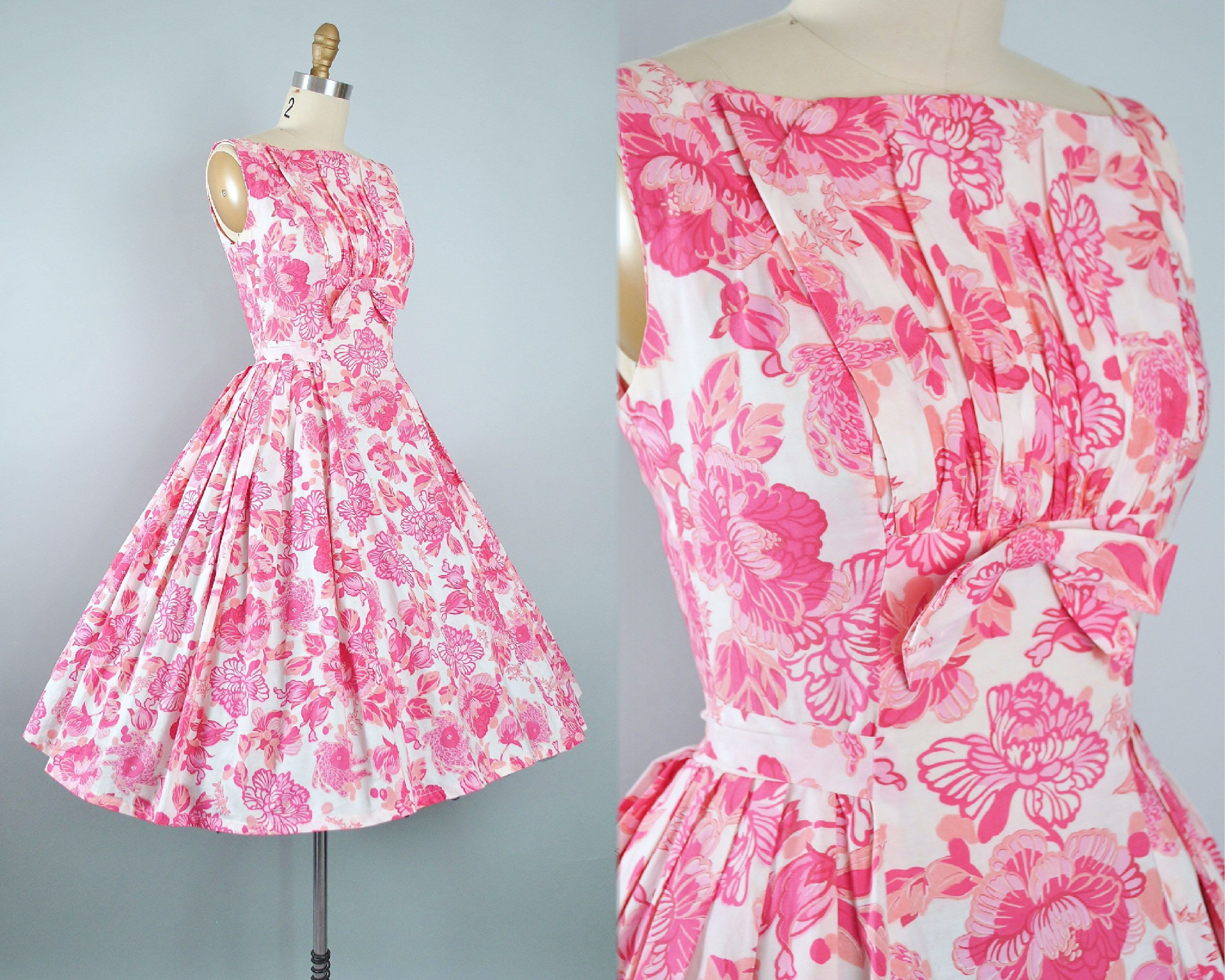 Vintage 1950s Dress / 50s Pink Red Cotton Sundress Oversize Tropical ...