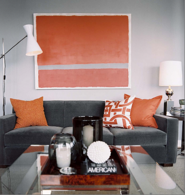 Grey Walls Grey Couch Orange Accents So My Style Grey And