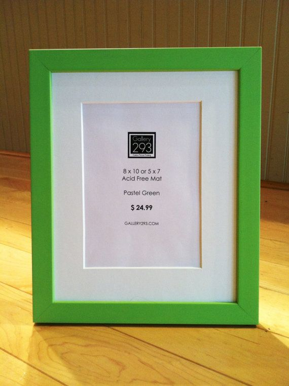 8 x 10 OR 5 x 7 -- Lime Green Frame with White Mat | Ready Made ...