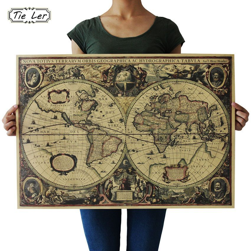 Retro world map nautical ocean map vintage kraft paper poster wall retro world map nautical ocean map vintage kraft paper poster wall chart sticker antique home decor gumiabroncs Images