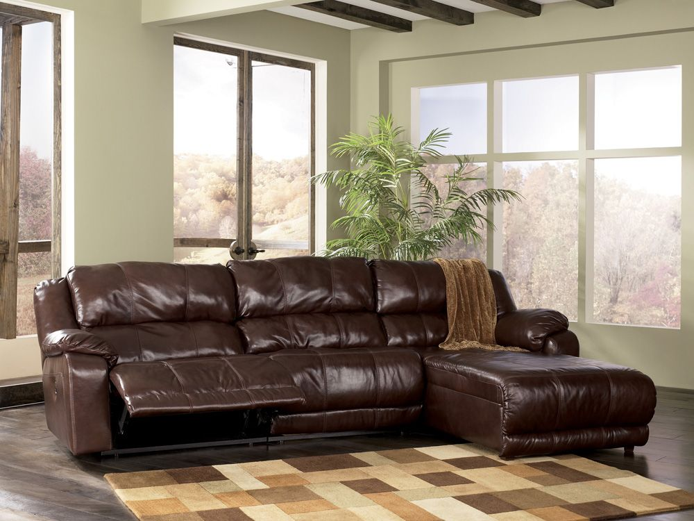 Braxton Java Small Leather Chaise Sectional By Ashley