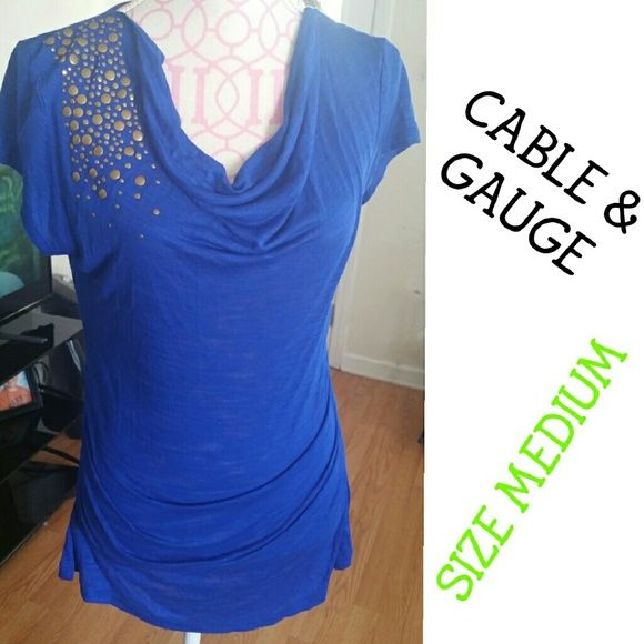 NWT RUNCHED   COWL TOP WITH EMBELLISHMENTS NWT BLUE WITH GOLD STUDS RUCNCHED TOP SIZE MEDIUM Cable & Gauge Tops