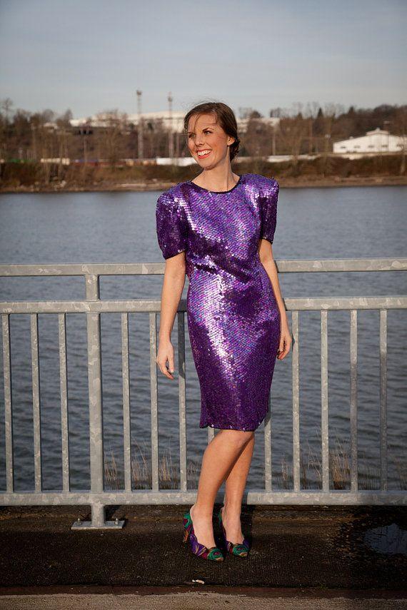 Amethyst Sequin Cocktail Dress// Joan Leslie