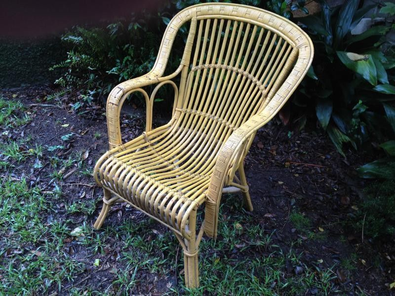 Vintage Retro Split Cane Outdoor Arm Chair Wicker Hooped Rustic Yellow Deco Chic Diy Furniture Restoration Outdoor Armchair Deco Chic