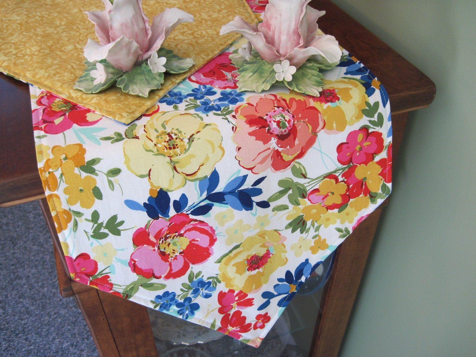 54 Summer Floral Table Runner Reversible Yellow Table Runner Pink Table Runner Summer Table Decor Spring Table Runner Pink Dresser Scarf Summer Table Decorations Floral Table Runner Printed Table Runner