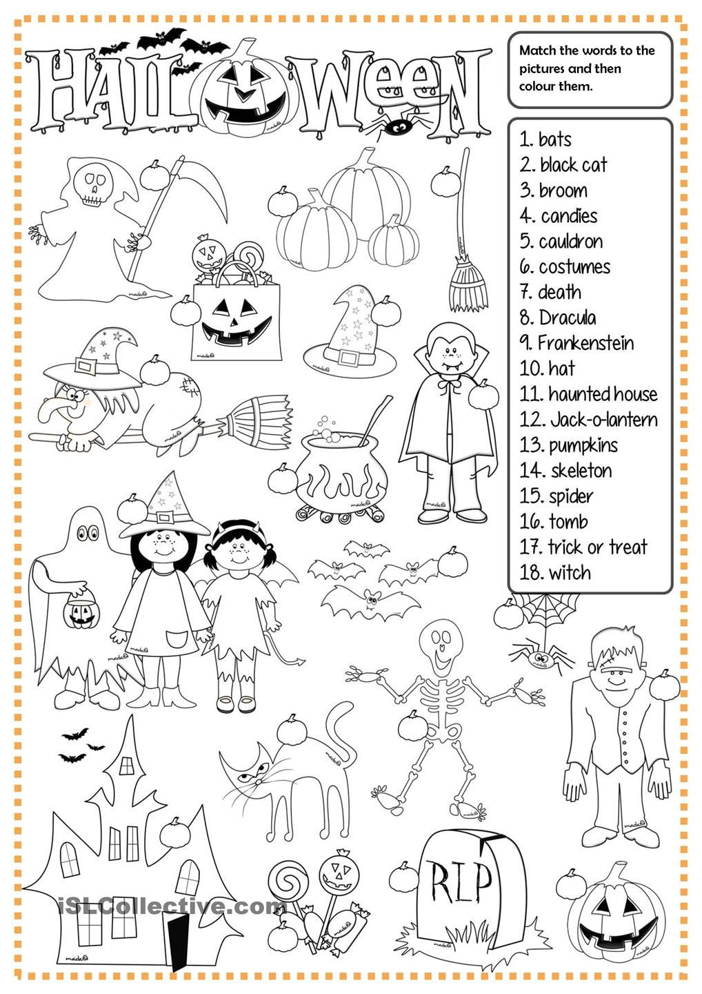 Halloween - matching | enkku | Pinterest | English, Worksheets and ...